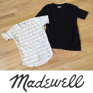 2 tshirt bundle- black and cream striped